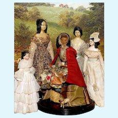 "All Original 1830's WAX PEDLAR DOLL or ""PEDDLER"" in Original Clothes"