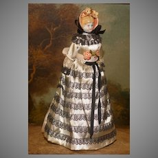 """9"""" Cabinet Size Godey Lady China Head Doll - ALL ORIGINAL -with Kimport LABEL.!"""