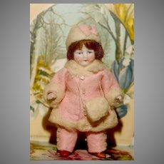 """FACTORY ORIGINAL ' Winter Themed '  All Bisque - 4"""" tall in her Lambswool Winter Ensemble including HAT, MUFF and LEGGINGS.!"""