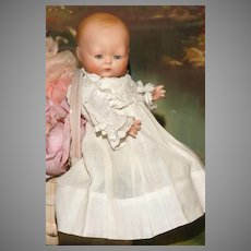 """A Large Size 8.5"""" All Bisque Horsman TYNIE BABY in Heirloom Clothes with Blue Sleep Eyes - ALL MINT.!"""
