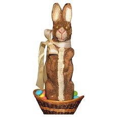 "A  Rascally 6.5"" German Maché Easter Rabbit CANDY CONTAINER -"