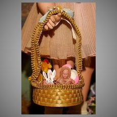 A Scarce DOLL SIZE Easter Basket made in Czechoslovakia with LABEL.!