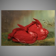 1950's Red Bunny Slippers for Girls, Boys and Baby Dolls of All Eras.!
