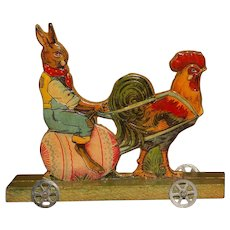 "EASTER DIE-CUT : A Rare Early Miniature German PLATFORM TOY in Mint Condition and only 5.5"" tall.!"