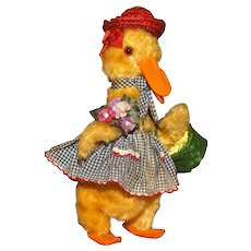 """A  Witty VINTAGE Comic Plush Toy Depicting a COSTUMED GOOSE - Possibly British - 11"""" tall."""