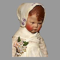 """A Gentle 17.5"""" Pristine and Original EARLY KATHE KRUSE Doll l with Wide Hips and Separate Thumb plus MINIATURE WATCH.!"""