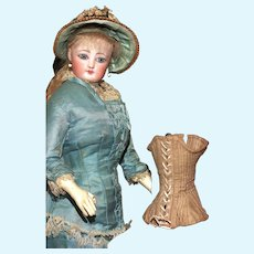 A Small Authentic DOLL SIZE CORSET with Laces and Stays for Use or Display.!