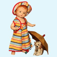 """A MATRIX SUMMER SOUVENIR.! Early EffanBee """"Patsy Pending"""" PATSY with Brown Eyes, Factory Beach Togs and Beach UMBRELLA.!"""