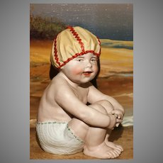 """A MATRIX SUMMER SOUVENIR !  Rare and Large 7.5"""" Heubach Piano Baby with Bathing CAP and TRUNKS.!"""