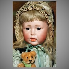 """'Elsa' - a Rare 18"""" K&R '112' with Original Silk PERIOD CLOTHES and Factory Leather Shoes - plus GLASS EYES.!"""