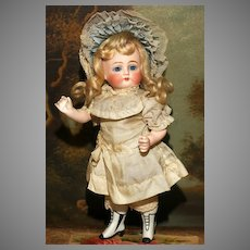 """A LARGE and Unusual Peg Jointed 9"""" ALL BISQUE in Original Clothes with Rare &  Important LIGHT GREY BOOTINES.!"""