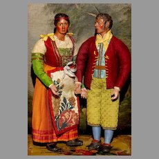 """Hold for B. --AUTHENTIC PAIR - 11"""" Mint Italian Creche Villagers both by the same Artist and wearing ORIGINAL CLOTHES with Italian Paper Lining."""
