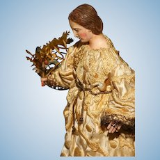 """An Early Italian 10.5"""" tall WOODEN ANGELIC figure with GLASS EYES and jointed Wooden Arms from the Neapolitan Age."""