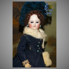 """LOUIS DOLEAC POUPEE (att.) - the 14.5"""" Fashion in her Elegant Period Clothes with Flawless Quality Bisque - EARLY MODEL !"""