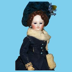 "LOUIS DOLEAC POUPEE (att.) - the 14.5"" Fashion in her Elegant Period Clothes with Flawless Quality Bisque - EARLY MODEL !"