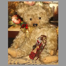 """A  19"""" ANTIQUE TEDDY BEAR with Unusual Cream Colored Long Hair and a Rare Working MUSIC BOX MELODY in  the Torso.!"""