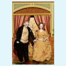 """An Elegant 6"""" tall DOLL HOUSE PAIR of Lady and Gentleman in ORIGINAL CLOTHES and fine condition."""