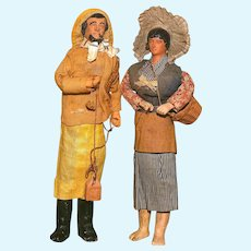 """An 11.5"""" French Seaside Couple complete with ACCESSORIES and HEADWEAR"""