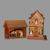 An Attractive RED BRICK Paper Covered STABLE - with Unusual Detachable Roof and Bright Colors.!