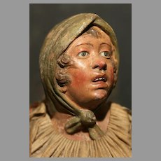 """13"""" tall -A  Very Unusual and RARE Neapolitan Creche Woman with MOLDED HEADWEAR and her ORIGINAL Silk Clothes"""