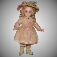 """14"""" Petit 'Size 5' Closed Mouth Tête Jumeau in Pink Silk and Lace plus Antique Shoes ."""