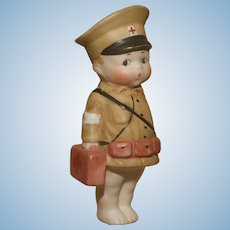 """A Very Cute 4.5"""" All Bisque German Bisque Googly 'Army Medic'"""