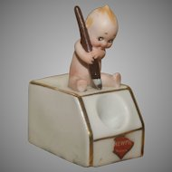 "Rare 3.5"" tall Rose O'Neill Kewpie Inkwell with Kewpie Sticker"