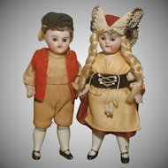 """All Original 3.5"""" Pair of German All Bisques in Factory Original Clothes."""