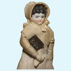"""MATRIX STOCKING STUFFER !!   Miniature 6"""" All Original Shaker China Doll House or Cabinet Doll with Bible. Mint!"""