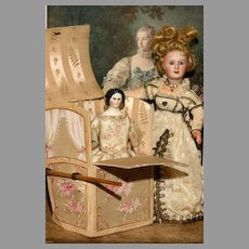 "Small 7"" tall  French Silk Covered Sedan Chair"