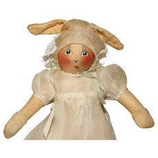 "Scarce 14"" tall 'Baby Bunty' Fabric Rabbit Doll with Provenance."