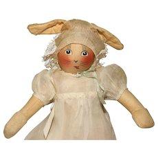 "Scarce 14"" tall 'Baby Bunty' Fabric Rabbit Doll with Provenance."