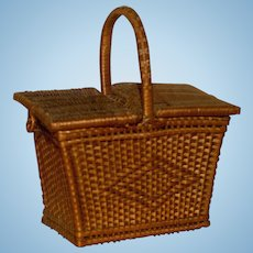 MATRIX SUMMER SOUVENIR !!  Doll Size French Wicker Hinged Basket