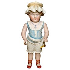 """MATRIX SUMMER SOUVENIR !!  6.5"""" Exceptional All Bisque Bather with Molded Clothes"""