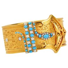 Extremely Rare Victorian Serpent Bracelet with Turquoise and Pearls