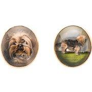 Art Deco Essex Crystal Terrier Cufflinks, 18 kt