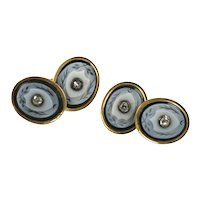 Victorian Gold Banded Agate and Diamond Cufflinks