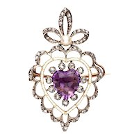 18 Karat Amethyst, Diamond, Natural Pearl Heart Pendant Brooch