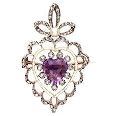 18 Karat Amethyst, Diamond, Natural Pearl Heart Pendant Brooch