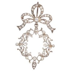 Pristine Art Nouveau French Paste Pendant in Sterling Silver
