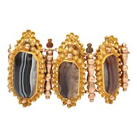 Framed in Beauty: Banded Agate Pinchbeck Bracelet