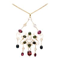 Color Points on a Victorian Multi Gem Necklace