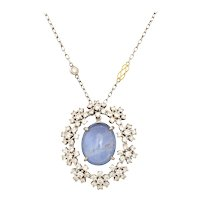Radiant Diamond and Star Sapphire Pendant c. 1950
