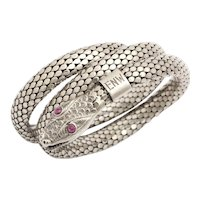 Silver Art Deco Serpent Bracelet with Ruby Eyes