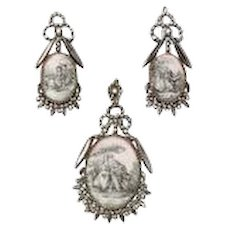 Rare, Romantic Georgian Cut Steel and Porcelain Pendant and Earrings