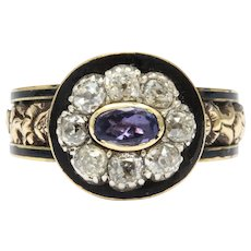 Georgian Amethyst, Diamond and Enamel Ring