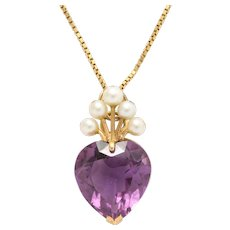 Amethyst Heart with Pearl Tiara