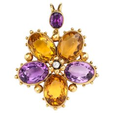 Antique Regency Amethyst, Citrine, Diamond Pansy Pendant