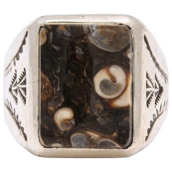 Vintage Navajo Silver Fossil Ring, Unisex