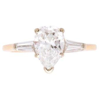 Vintage Platinum Pear Shaped Diamond Ring